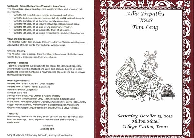 Alka and Tom wedding invites