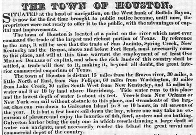 Ad announcing the availability of land sales in early Houston.