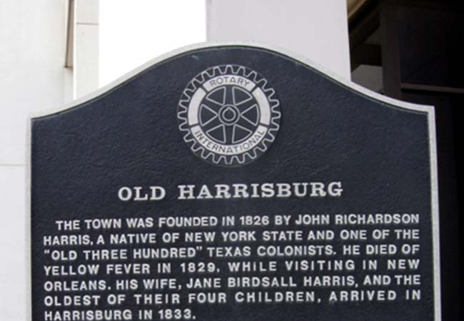 Historical marker for the once thriving and now disappeared town of Harrisburg, Texas